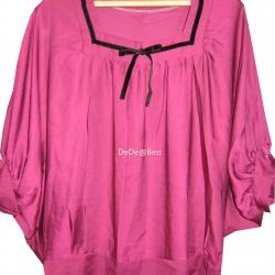 ขายแล้วค่ะ T23:2nd hand top เสื้อสีชมพูม่วงผ้าเหลือบมัน ผูกโบว์กำมะหยี่สีดำน่ารักดีค่ะ&#x2764