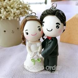 พวงกุญแจดินปั้นเจ้าสาวเจ้าบ่าว ชุดแต่งงาน ของขวัญแต่งงาน