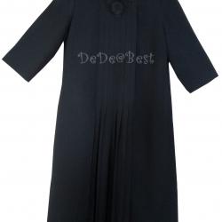 ขายแล้วค่ะ D35:Vintage dress สีดำตีเกล็ดด้านหน้าและติดลูกไม้ที่คอเสื้อ&#x2764