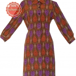 ขายแล้วค่ะD56:Vintage dress เดรสวินเทจปกเชิ้ต ลายสวย ! ส่งฟรีค่าาา.. !!&#x2764