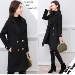 เสื้อโค้ทกันหนาว สีดำ ทรงยาว สไตล์เกาหลี