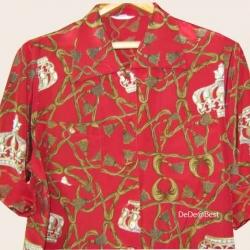 ขายแล้วค่ะ T33:Vintage top เสื้อวินเทจสีแดงลายมงกุฎและพู่เชือก&#x2764