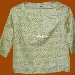 ขายแล้วค่ะ T18:Vintage top เสื้อผ้าไหมสีครีม ลายกราฟฟิคโบราณ สวยจริงค่ะ&#x2764