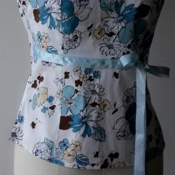 T103:2nd hand top เสื้อเกาะอก ลายดอกไม้สีฟ้า ผูกโบว์ใต้อก สวยหวานน่ารัก