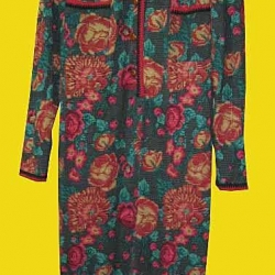 ขายแล้วค่ะ D29:Vintage dress เดรสวินเทจลายดอกไม้+กระดุมทำจากหนังค่ะ Made in ITALY&#x2764