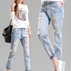 กางเกงยีนส์ สีฟ้าอ่อน แต่งขาดเซอร์