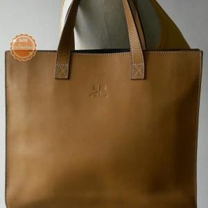ขายแล้วค่ะ B58: Leather Handbag กระเป๋าหนังแท้สีน้ำตาลอ่อน กระเป๋าถือ❤