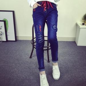 กางเกงยีนส์แฟชั่น เอวยืดมีสายผูก สีน้ำเงิน