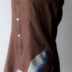 T117:Vintage top เสื้อเกาะอกสีน้ำตาลปักรูปเหยี่ยวตัวใหญ่