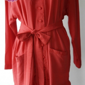 D50:Vintage dress เดรสวินเทจสีแดงลายจุดขาว ปกลูกไม้ (มีผ้าผูกเอว)