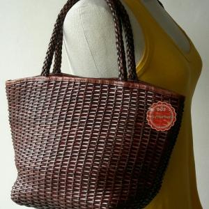 ขายแล้วค่ะ B59: Vintage leather bag กระเป๋าหนังแท้สีน้ำตาล กระเป๋าสาน กระเป๋าถือ&#x2764
