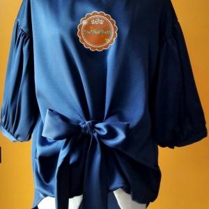 T129:เสื้อสีน้ำเงิน แขนพอง ผูกโบว์ สินค้าใหม่ค่ะ