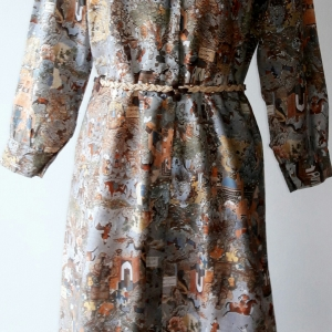 ขายแล้วค่ะ D61:Vintage dress เดรสวินเทจลายวิถีชีวิตชนเผ่าพื้นเมือง❤