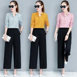 Set เสื้อเชิ้ตแขนยาวลายริ้ว + กางเกงขายาวสีดำ