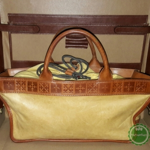 หมดค่ะ B52:Vintage leather bag กระเป๋าถือหนังแท้สีครีมตัดขอบด้วยหนังแท้สีน้ำตาล❤