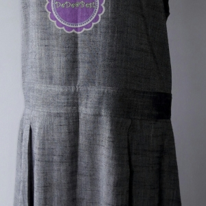 D53:Vintage dress เดรสวินเทจสีเทาแขนกุด