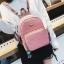 [ พร้อมส่ง Hi-End ] - กระเป๋าเป้แฟชั่น สีดำวิ้งค์ๆ ใบกลางๆ ดีไซน์สวยเก๋ปรับใช้งานได้หลากสไตล์ ดูดีสไตล์แบรนด์ งานหนังคุณภาพดี ไม่ซ้ำใคร thumbnail 4