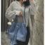 [ พร้อมส่ง ] - กระเป๋าถือ/สะพาย สีฟ้า ทรงขนมจีบตั้งได้ ดีไซน์สวยเรียบหรู ปีกหมุดเท่ๆ ใบกลางๆ งานหนังคุณภาพสวยมากค่ะ thumbnail 7