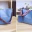 [ พร้อมส่ง ] - กระเป๋าสะพายไหล่แฟชั่น สีฟ้า ทรงถัง + กระเป๋าใบเล็ก 1 ใบ ดีไซน์สวยเรียบหรู ดูดี งานหนังคุณภาพดี พร้อมสายสะพายสุดเก๋ thumbnail 8