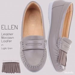 Ellen Loafer Grey โลฟเฟอร์ถอดพู่ได้ สีเทา