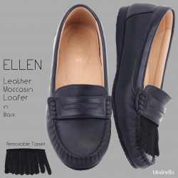 Ellen Loafer Black โลฟเฟอร์ถอดพู่ได้ สีดำ