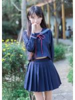 ชุดนักเรียนญี่ปุ่นแขนยาว งานเกรดA สีกรมท่า