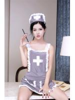 ชุดพยาบาลสาวเซ็กซี่ สไตล์ผ้ากันเปื้อนสีเทา