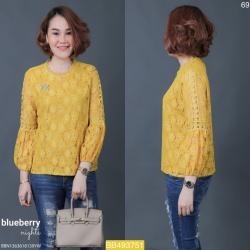 """BB3751 *สีเหลือง* รอบอก44"""" เสื้อลูกไม้อิตาลี"""