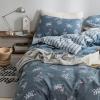 ผ้าปูที่นอน ลายนกฟลามิงโก้ Flamingo สีเทา ลายทาง