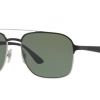 Ray Ban RB3570 90049A SILVER TOP SHINY BLACK Dark Green Polarized