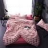 ผ้าปูที่นอน ลายเส้นลายทาง สีชมพู