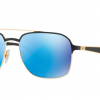 Ray Ban RB3570 187/55 GOLD SHINY BLACK Light Green Mirror Blue