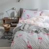ผ้าปูที่นอน ลายนกฟลามิงโก้ สีขาว-โอรส ลายทาง