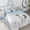 ผ้าปูที่นอน แรคคูน ฟ้า-ขาว สีพาสเทล