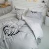 ผ้าปูที่นอน ลายกวาง ลายทาง สีเทา-ขาว
