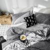 ผ้าปูที่นอน ลายจุดดาว สีเทาขาว