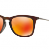 Ray Ban RB4221F 61676Q SHOT RED RUBBER Brown Mirror Orange
