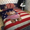 ผ้าปูที่นอนลายหมี 3D ธงชาติสหรัฐ USA