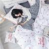 ผ้าปูที่นอนลายจุดหัวใจ ลายสก๊อตสีดำ-สีขาว Hello Mantime