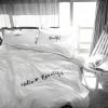 ผ้าปูที่นอน พื้นสีขาว ปักลาย Hello Beautiful