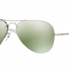 Ray Ban RB3449 904330 Aviator Rimless Green Flash Silver