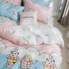 ผ้าปูที่นอน ลายการ์ตูน สีชมพู-ฟ้า สีพาสเทล