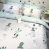 ผ้าปูที่นอนลายตะบองเพชร สีเขียว-เทา