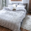 ผ้าปูที่นอน ลายทาง สีเทา-ขาว