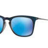 Ray Ban RB4221F 617055 SHOT BLUE RUBBER Light Green Mirror Blue