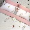 ผ้าปูที่นอน ลายการ์ตูนเด็ก ลายทางสีชมพู-ขาว