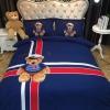 ผ้าปูที่นอนลายหมี ลายธงชาติอังกฤษ สีน้ำเงิน-แดง