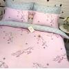 ผ้าปูที่นอน ลายม้ายูนิคอน สีชมพู-เทา หวานๆ
