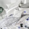 ผ้าปูที่นอน ลายจุดสวยสวย สีขาว-เทา