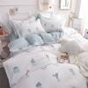 ผ้าปูที่นอนลายตะบองเพชร สีฟ้า-เส้นขาว พิมพ์ลาย